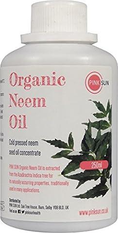 PINK SUN Huile de Neem Bio Pressée à Froid Vierge 250ml (Également disponible en 1 litre) Pure Organic Neem Oil - Cold Pressed Unrefined Concentrate
