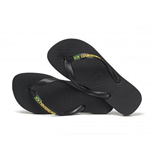Havaianas Brasil Logo Thong Flip Flops Black - UK 9/10 - BR 43/44 - EU 45/46
