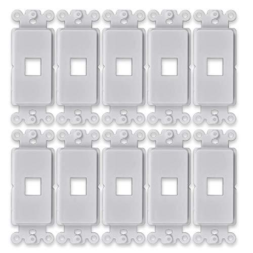 FolioGadgets Decora QuickPort Wandplatte für Standard-Keystone-Einsatz, 1 Port, 10 Stück -