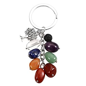 JOVIVI 7 Chakra Schlüsselanhänger mit Lebensbaum Anhänger Trommelsteine Baum des Lebens Schlüsselbund Schlüsselring Keychain