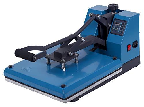 RICOO T138-AZ Transferpresse Textilpresse Textildruckpresse Klappbar Thermopresse Transferdruck Bügelpresse Textil T-Shirtpresse Sublimationspresse für Flexfolie und Flockfolie/Azur-Blau