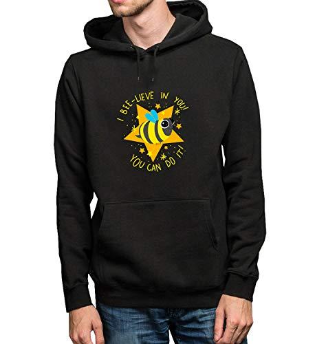 GlamourLab Belive In Yourself Bee Slogan_R1970 Hoodie Kapuzenpullover Jumper Sweater Pullover Sweatshirt Unisex Black Gift- M Black Hoodie