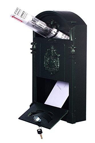 Antiker großer und sehr edler Briefkasten LB-001-Long Grün Wandbriefkasten, Briefkasten, Nostalgischer Englischer Briefkasten Alu – Guss 47 cm hoch . Mit Befestigungsmaterial für die Wand. mit 2 Schlüsseln , Rostfrei - 2