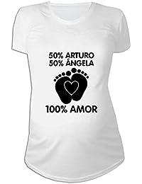 Regalo Personalizable para Mujeres Embarazadas  Camiseta  porcentajes   Personalizada con los Nombres de la Madre y del Padre del… 48187d306e9