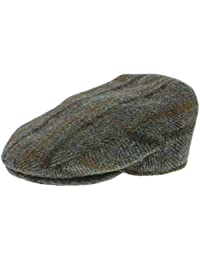 Failsworth Harris Tweed 'Stornoway' Flat Cap Green Brown Check Pattern 5090