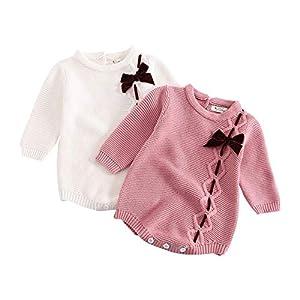 HCFKJ Ropa Bebe NiñA Invierno NiñO Manga Larga Camisetas BEB Conjuntos Moda Bebé ReciéN Nacido NiñA Arco De Punto… 9