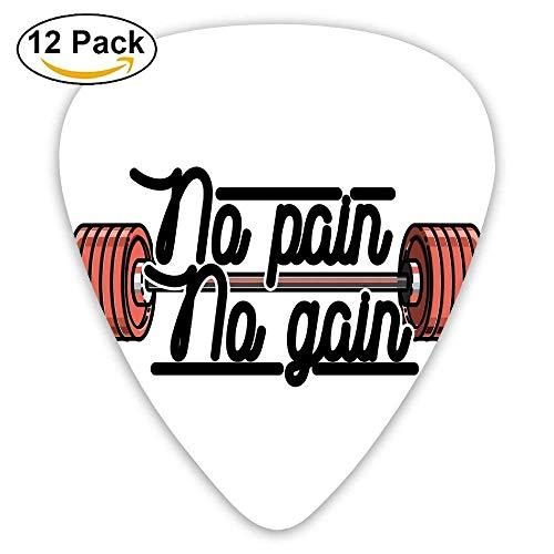1430b43e9a02d No Pain No Gain Vintage Emblem Design Barbells Weightlifting Bodybuilding  Guitar Picks 12 Pack