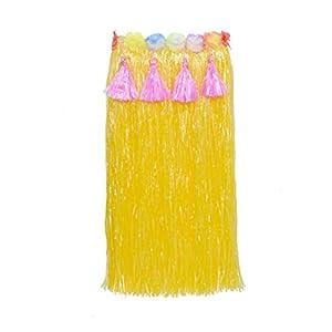 Amosfun Gras Rock mit Blumen Hawaii Party Rock für Strand Luau Party Kostüm 80cm (Gelb)