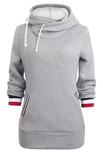 Aitos Kapuzenpullover Damen Hoodie Sweatshirt Top Streifen Hipster Mode Lässige Herbst Winter (Grau STL/S)