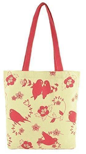 Donna Cotone Di Tela Disegno Animale Spalla / Borsa Shopping Uccelli
