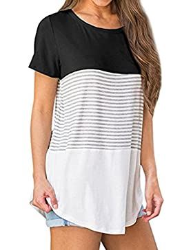 FAMILIZO Camisetas Mujer Manga Corta Rayas Camisetas Mujer Tallas Grandes Camisetas Mujer Verano Blusa Mujer Sport...