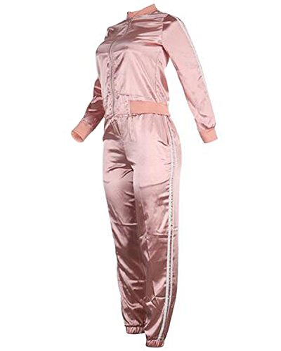 Auxo Femme Casual Classique Zippé Costumes Ensembles Sweats Tops + Pantalons Joggings Survêtements Rose clair