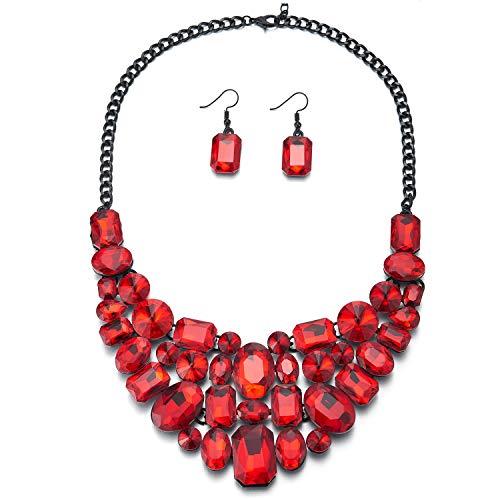 iMECTALII Rot Blasé Kristall Cluster Schwarz Kette Lätzchen Choker Statement Halsketten Halsband Anhänger Ohrringe Set Partei Boys Blase