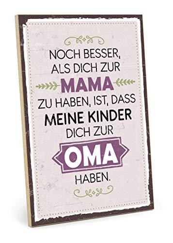 TypeStoff Holzschild mit Spruch – OMA – im Vintage-Look mit Zitat als Geschenk und Dekoration zum Thema Mutter, Großmutter und Familie (19,5 x 28,2 cm)