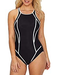 f74e94fa1aaa6 Miraclesuit Women's Swimwear Prismatix Line Up High Neckline Full Bust  Support Tummy Control One Piece Swimsuit