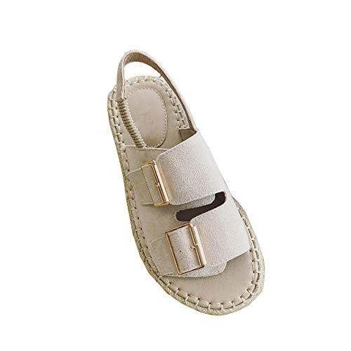 Sandales Plateforme Plateforme Chaussures Coton et Lin Printemps Eté Ladies Fashion Casual, apricot, 39
