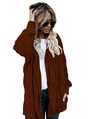 Minetom Automne Hiver Femme Chic élégant Mode Manches Longues Manteau à Capuche Fille Veste Ouvert Chaud Parka Marron FR 44