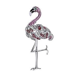 AILUOR Damen Emaille Flamingo Brosche, Goldton Perle Escent Rosa Kranich Vogel Kristall Strass Brosche Pin