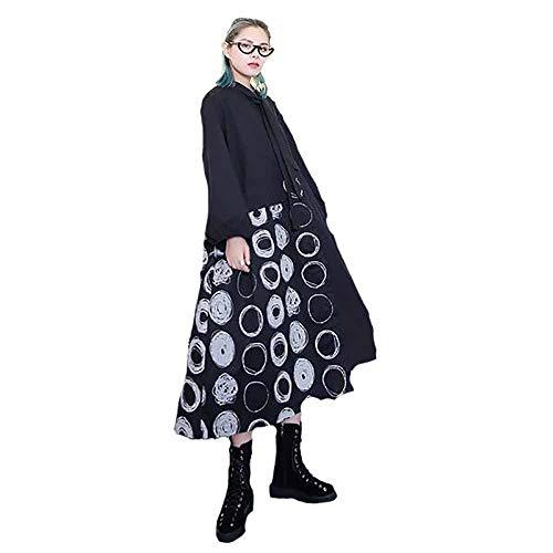Women's Plus Size Kleider Langarm Revers Print Patterns A-Linie Kleid Half-Length Circular Stitching Shirt Unregelmäßige Rock Lose Beiläufige Dünne Stretch-Kleid,Black,OneSize
