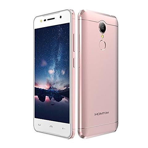 HOMTOM HT37 3G WCDMA Ohne Vertrag Smartphone, Android 6.0 (5 Zoll HD, 2.5D Glasschirm, Quad-Core, 2GB RAM + 16GB ROM Speicher, 8.0MP Kamera, 3000mAh Akku,Doppel Lautsprecher, Fingerabdrucksensor)Rosa