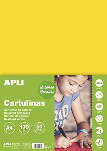 APLI 14237 - Cartulina amarilla A4 170 g 50 hojas