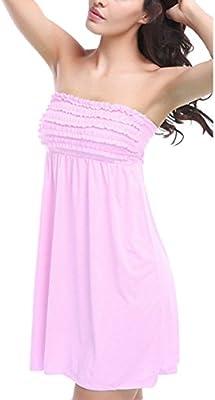 Mujer Trajes De Baño Playa Vestir Envuelto Pecho Vestido Corto Color Sólido Respirable