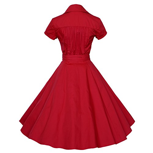 Maggie Tang 50s 60s Vintage manches courtes Robe trap¨¨ze Rockabilly Party Rouge