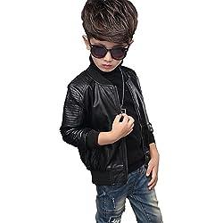 YoungSoul cazadora biker de piel sintético de invierno chaqueta de imitación cuero abrigos de vestir para bebe niños Negro Etiqueta 160cm