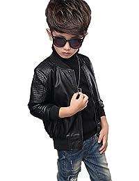 YoungSoul cazadora biker de piel sintético de invierno chaqueta de imitación cuero abrigos de vestir para bebe niños