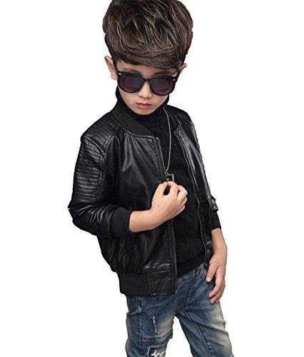 YoungSoul Kinder Jungen Kragen Motorrad Kunst Lederjacken Herbst & Winterjacken Leder Mantel Biker für Teenager Schwarz(mit Futter) Etikette 160cm