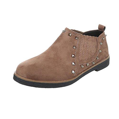 Ital-Design Chaussures Femme Mocassins Bloc Slippers bronzage 2330