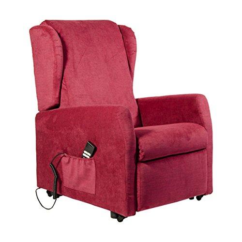 Fernsehsessel mit Aufstehhilfe und 2 Motoren MÜNCHEN . Memory-Foam Polsterung. Stoffbezug in der Farbe Rot