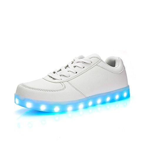 COOLER®Cuir Chaussures LED clignotante rechargeable basket lumineuse chaussures de sport en couleur noir/blanc pour Femme/Homme