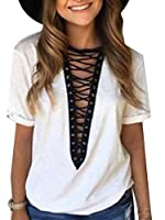 EKU Women Sexy Lace Up Deep V-Neck Short Sleeve T-Shirt Tops White L