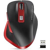 Maus Kabellos, Computer Maus, 2.4G Funkmaus, Ergonomische Maus 2400 DPI mit USB Nano Empfänger, 6 Tasten, für PC/Tablet/Laptop und Windows/Mac/Linux, Office Home (Rot&Schwarz)