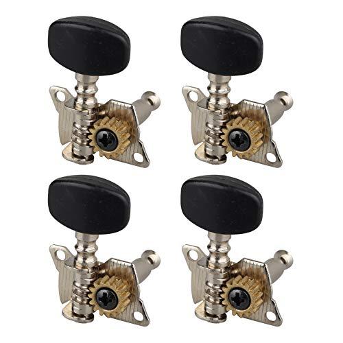 4 Stück Premium Ukulele Tuner Saiten Tuning Pegs Schlüssel schwarz geschlossene Stimmwirbel Mechaniken mit Schrauben Set für 4 Saiten Gitarre Bass