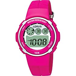 Lorus by Seiko Sports 100m Children Pink Resin Strap Stop Watch R2377DX9