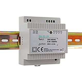 Auforua® AC 230V to DC 60W 24V 2.5Amp Din-Rail Switching Power Supply Transformer Unit for Industrial and Residential Applications; suitable to drive LED tapes and strips;