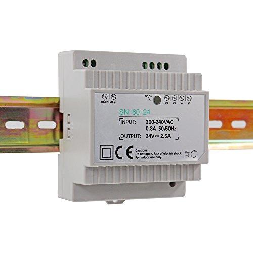 Hutschienen Netzteil LED Trafo 230VAC / 24V DC 2.5A 60W; Konstantspannung DIN-Schiene Netzteil für LED Produkte 24V DC; Schaltnetzteil Hutschienennetzteil