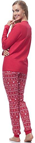 Ladeheid Damen Schlafanzug LA40-115 Muster-5 Rot