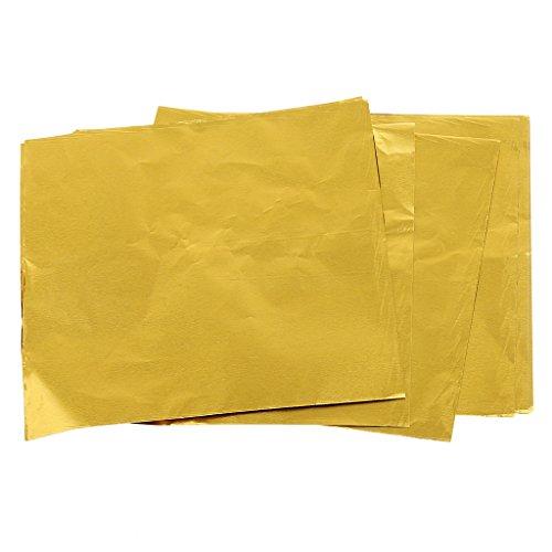 100x Alufolie Folie Packung Wrapper für Schokolade Backen Party Süßigkeit - Golden -