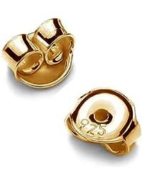 1par pousetten 5mm para pendientes plata de ley 925grabado dorados de 24K
