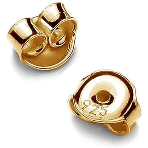 10pares pousetten 5mm para pendientes plata de ley 925grabado dorados de 24K