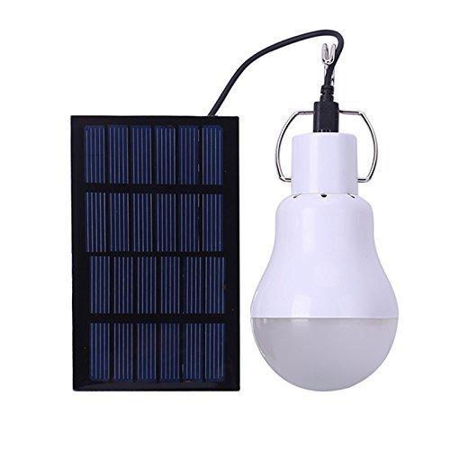 Características: la bombilla funciona con energía solar, que es limpia, no se termina y es respetuosa con el medio ambiente. También puede cargarse con un cargador de 5 - 8 V. Apto para el hogar, el jardín, la iluminación de seguridad de la oficina, ...