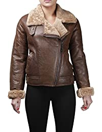 Women's Camel Brown B3 WW2 Vintage Ginger Sheepskin Leather Flying Jacket