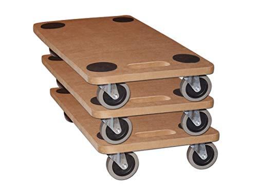 Möbelroller Transportroller 250 kg Rollbrett MDF Möbel Hund Roller (3 Stück)