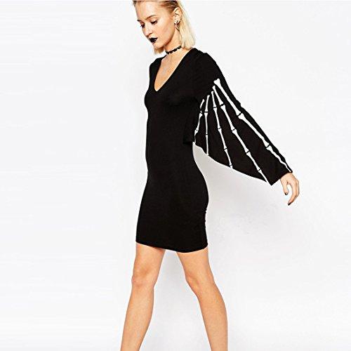 M-Queen Femmes Sexy Robe Manches Chauve-souris Crâne Elégant Mini Robe Pour Cocktail Party Mariage Soirée Clubwear Tunique Dress Noir