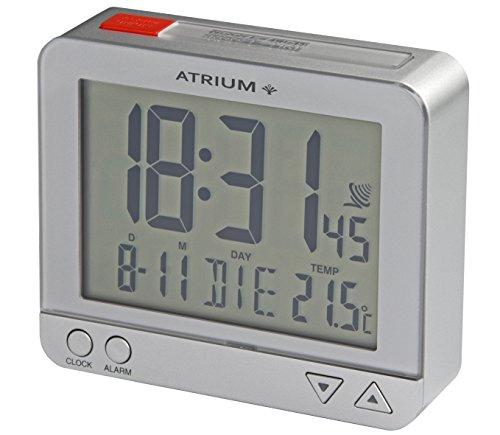 ATRIUM Funkwecker digital silber mit Beleuchtung, Snooze, Datum und Temperaturanzeige A760-19