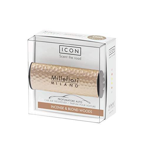 Millefiori Profumo per auto Millefiori ICON colore effetto dorato fragranza Incense & Blond Woods