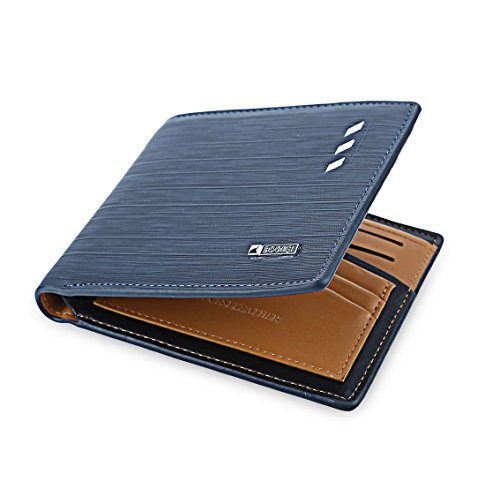 BOGESI Artificial Leather Wallet for Mens -Blue Cross